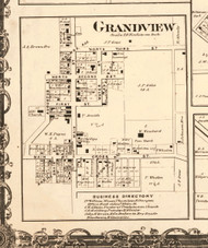 Grandview - Edgar Co., Illinois 1870 Old Town Map Custom Print - Edgar Co.