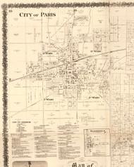 Paris - Edgar Co., Illinois 1870 Old Town Map Custom Print - Edgar Co.