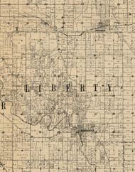 Liberty, Iowa 1900 Old Town Map Custom Print - Buchanan Co.