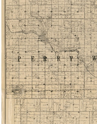 Perry, Iowa 1900 Old Town Map Custom Print - Buchanan Co.