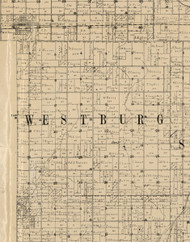 Westburg, Iowa 1900 Old Town Map Custom Print - Buchanan Co.