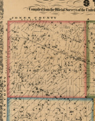 Pioneer, Iowa 1863 Old Town Map Custom Print - Cedar Co.