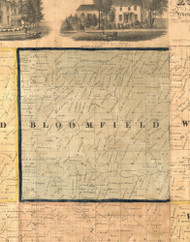 Bloomfield, Iowa 1865 Old Town Map Custom Print - Clinton Co.