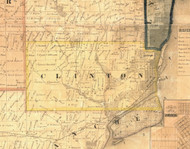 Clinton, Iowa 1865 Old Town Map Custom Print - Clinton Co.