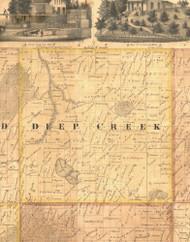 Deep Creek, Iowa 1865 Old Town Map Custom Print - Clinton Co.