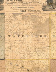 Waterford, Iowa 1865 Old Town Map Custom Print - Clinton Co.