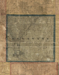 Delaware, Iowa 1869 Old Town Map Custom Print - Delaware Co.