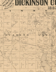 Diamond Lake, Iowa 1883 Old Town Map Custom Print - Dickinson Co.