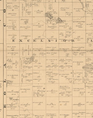Excelsior, Iowa 1883 Old Town Map Custom Print - Dickinson Co.
