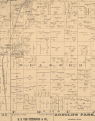 Milford, Iowa 1883 Old Town Map Custom Print - Dickinson Co.