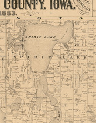 Spirit Lake, Iowa 1883 Old Town Map Custom Print - Dickinson Co.