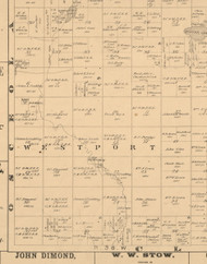 Westport, Iowa 1883 Old Town Map Custom Print - Dickinson Co.