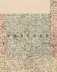 Concord, Iowa 1900 Old Town Map Custom Print - Dubuque Co.