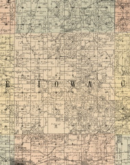 Iowa, Iowa 1900 Old Town Map Custom Print - Dubuque Co.