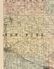 New Wine, Iowa 1900 Old Town Map Custom Print - Dubuque Co.