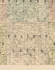 Prairie Creek, Iowa 1900 Old Town Map Custom Print - Dubuque Co.