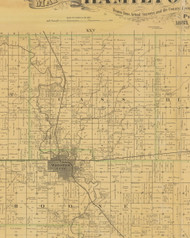 Cass, Iowa 1883 Old Town Map Custom Print - Hamilton Co.