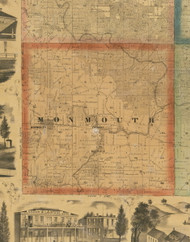 Monmouth, Iowa 1867 Old Town Map Custom Print - Jackson Co.