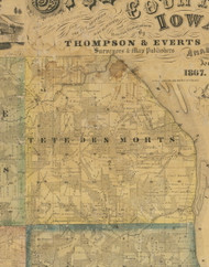 Tete Des Morts, Iowa 1867 Old Town Map Custom Print - Jackson Co.