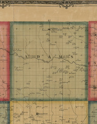 Adams, Iowa 1861 Old Town Map Custom Print - Keokuk Co.