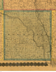Des Moines, Iowa 1871 Old Town Map Custom Print - Mahaska Co.