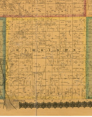 Harrison, Iowa 1871 Old Town Map Custom Print - Mahaska Co.