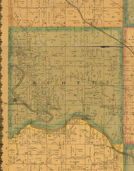 Scott, Iowa 1871 Old Town Map Custom Print - Mahaska Co.