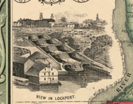 View of Lockport, New York 1852 Old Town Map Custom Print - Niagara Co.