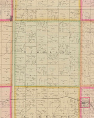 Highland, Iowa 1884 Old Town Map Custom Print - O'Brien Co.