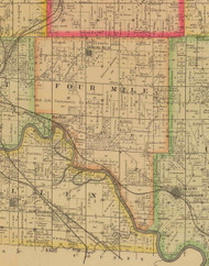 Four Mile, Iowa 1885 Old Town Map Custom Print - Polk Co.
