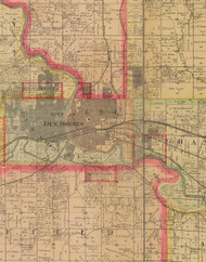 Lee, Iowa 1885 Old Town Map Custom Print - Polk Co.