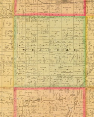 Welcome, Iowa 1884 Old Town Map Custom Print - Sioux Co.