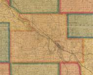 Center, Iowa 1870 Old Town Map Custom Print - Wapello Co.