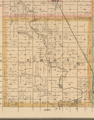 Troy, Iowa 1885 Old Town Map Custom Print - Wright Co.