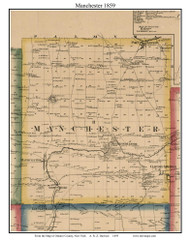 Manchester, New York 1859 Old Town Map Custom Print - Ontario Co.