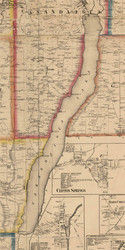 Canandiagua Lake, New York 1859 Old Town Map Custom Print - Ontario Co.