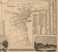 Geneva Village, New York 1859 Old Town Map Custom Print - Ontario Co.