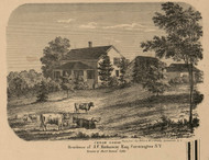Hathaway Residence, Farmington Village, New York 1859 Old Town Map Custom Print - Ontario Co.