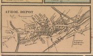 Athol Depot, Massachusetts 1857 Old Town Map Custom Print - Worcester Co.