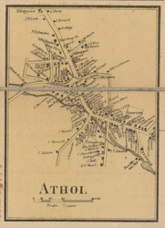 Athol Village, Massachusetts 1857 Old Town Map Custom Print - Worcester Co.