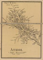 Athol Village, Massachusetts 1857 Old Town Map Custom Print - Worcester Co.