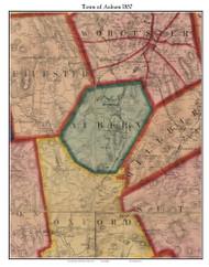 Auburn, Massachusetts 1857 Old Town Map Custom Print - Worcester Co.