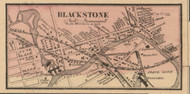 Blackstone Village, Massachusetts 1857 Old Town Map Custom Print - Worcester Co.