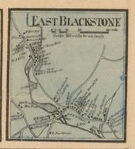 East Blackstone Village, Massachusetts 1857 Old Town Map Custom Print - Worcester Co.