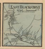 East Blackstone Village, Massachusetts 1857 Old Town Map Custom Print - Worcester Co.