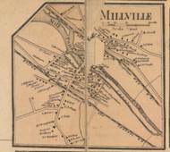Millville Village, Massachusetts 1857 Old Town Map Custom Print - Worcester Co.