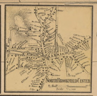 North Brookfield Center, Massachusetts 1857 Old Town Map Custom Print - Worcester Co.