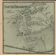 South Brookfield, Massachusetts 1857 Old Town Map Custom Print - Worcester Co.