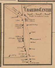 Charlton Center, Massachusetts 1857 Old Town Map Custom Print - Worcester Co.