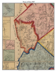 Dana, Massachusetts 1857 Old Town Map Custom Print - Worcester Co.